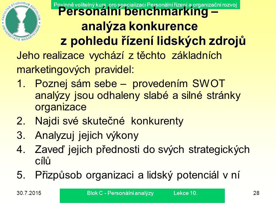 Povinně volitelný kurs pro specializaci Personální řízení a organizační rozvoj 30.7.2015Blok C - Personální analýzy Lekce 10.28 Personální benchmarkin