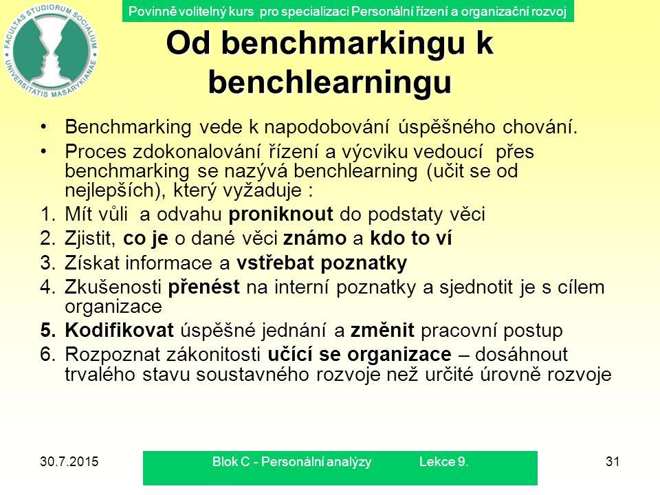 Povinně volitelný kurs pro specializaci Personální řízení a organizační rozvoj Od benchmarkingu k benchlearningu Benchmarking vede k napodobování úspě