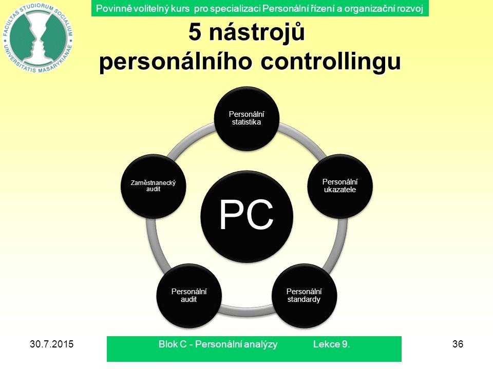 Povinně volitelný kurs pro specializaci Personální řízení a organizační rozvoj 5 nástrojů personálního controllingu PC Personální statistika Personáln