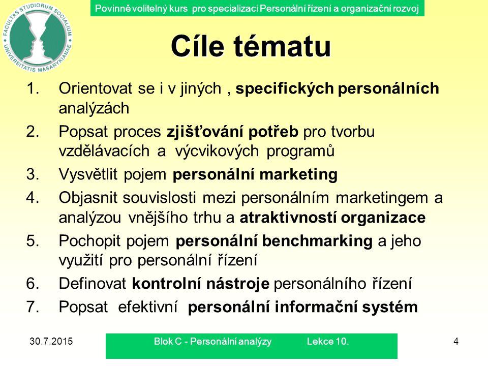 Povinně volitelný kurs pro specializaci Personální řízení a organizační rozvoj 30.7.2015Blok C - Personální analýzy Lekce 10.4 Cíle tématu Cíle tématu