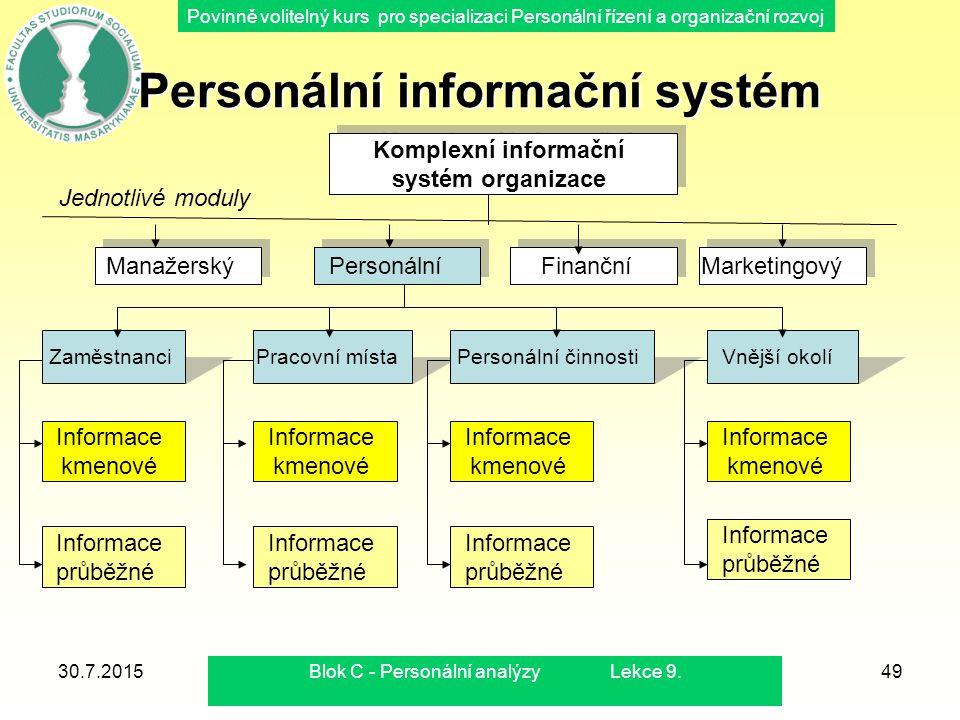 Povinně volitelný kurs pro specializaci Personální řízení a organizační rozvoj 30.7.2015Blok C - Personální analýzy Lekce 9.49 Personální informační s