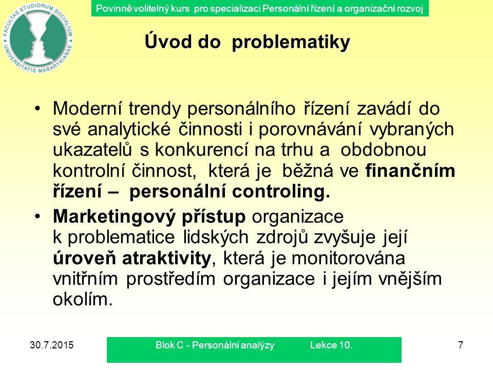 Povinně volitelný kurs pro specializaci Personální řízení a organizační rozvoj 30.7.2015Blok C - Personální analýzy Lekce 10.7 Úvod do problematiky Mo