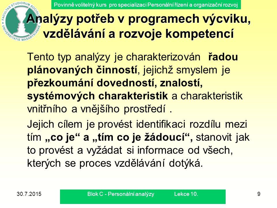 Povinně volitelný kurs pro specializaci Personální řízení a organizační rozvoj 30.7.2015Blok C - Personální analýzy Lekce 10.9 Analýzy potřeb v progra