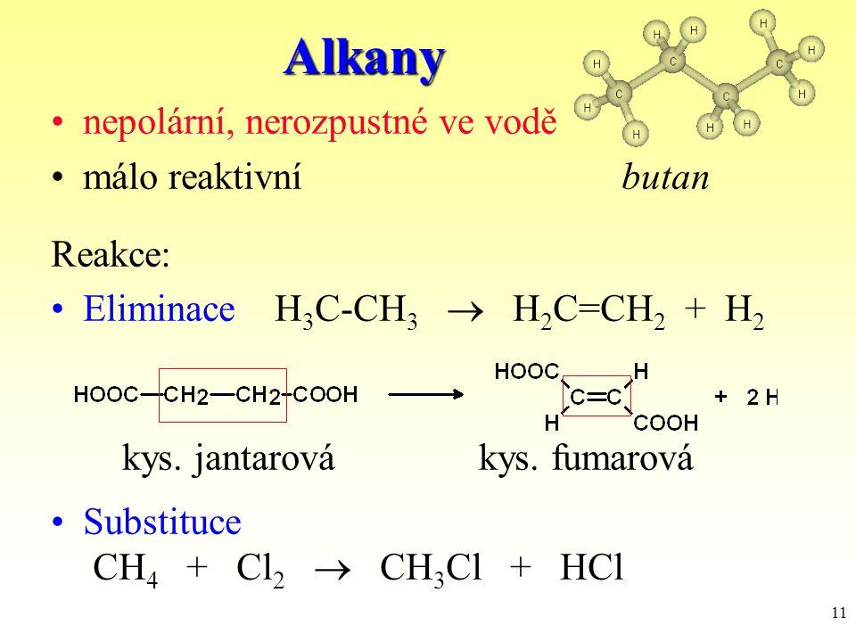 11Alkany nepolární, nerozpustné ve vodě málo reaktivníbutan Reakce: Eliminace H 3 C-CH 3  H 2 C=CH 2 + H 2 kys. jantarovákys. fumarová Substituce CH