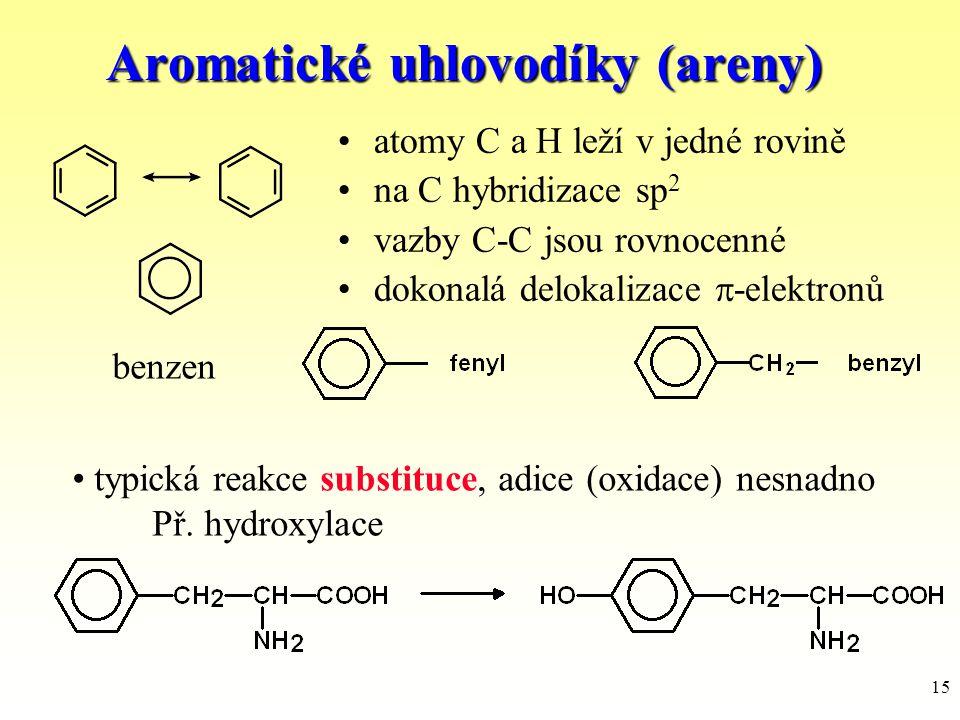 15 Aromatické uhlovodíky (areny) atomy C a H leží v jedné rovině na C hybridizace sp 2 vazby C-C jsou rovnocenné dokonalá delokalizace  -elektronů be