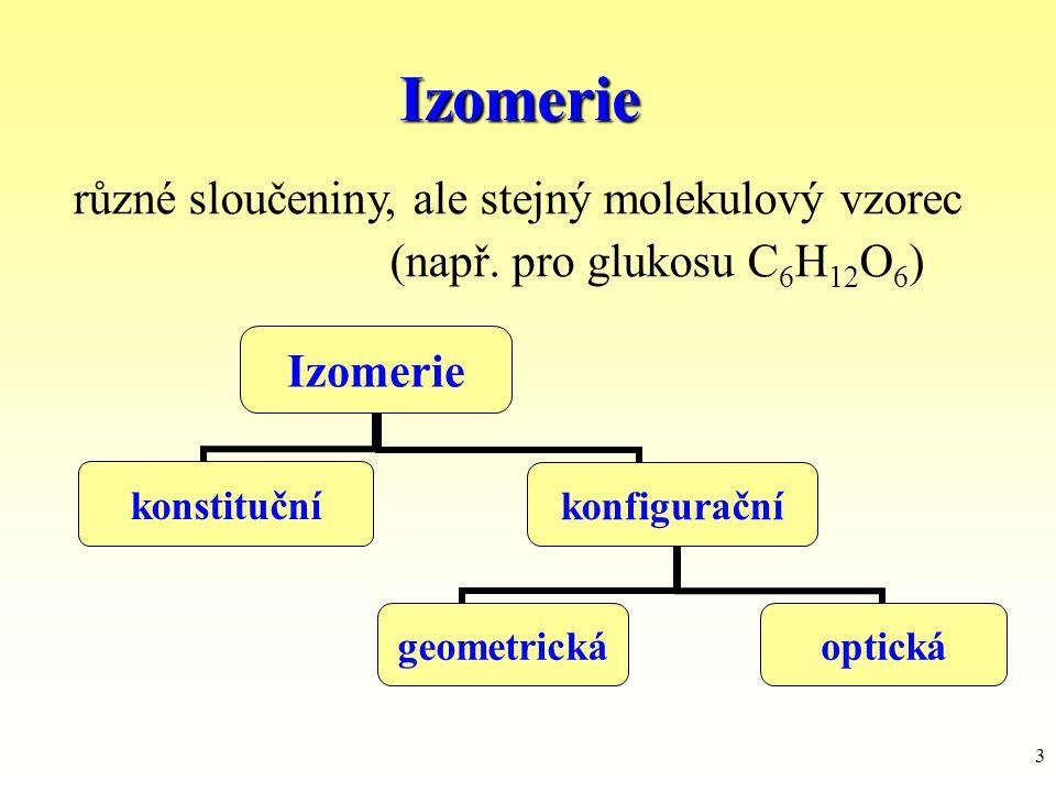 3 Izomerie různé sloučeniny, ale stejný molekulový vzorec (např. pro glukosu C 6 H 12 O 6 ) Izomerie konstitučníkonfigurační geometrickáoptická