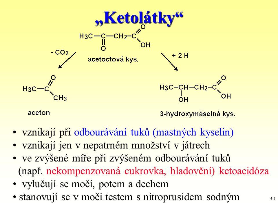 """30 """"Ketolátky"""" vznikají při odbourávání tuků (mastných kyselin) vznikají jen v nepatrném množství v játrech ve zvýšené míře při zvýšeném odbourávání t"""
