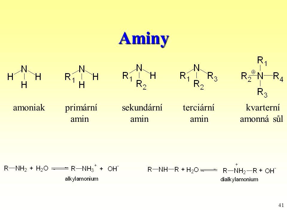 41 Aminy amoniak primární sekundární terciární kvarterní amin amin amin amonná sůl