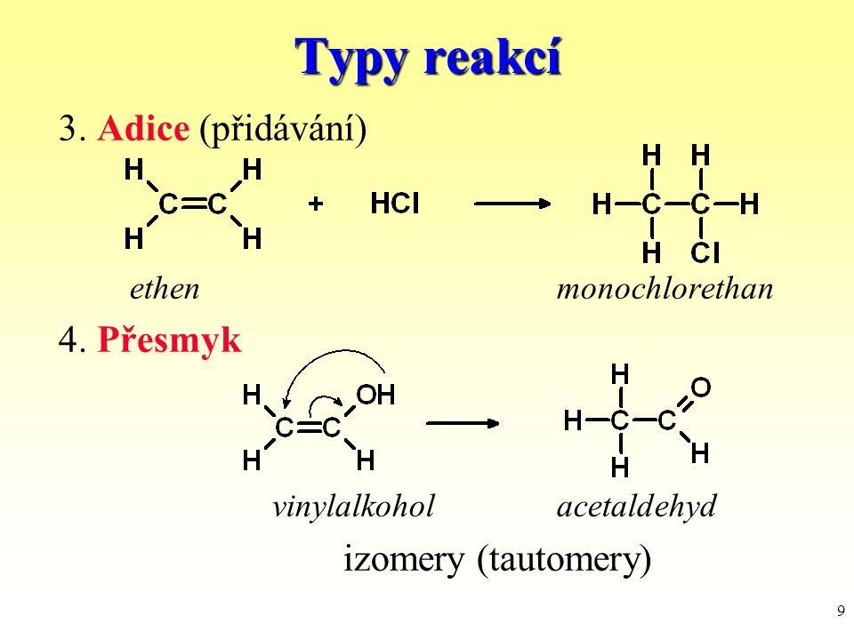 9 3. Adice (přidávání) ethenmonochlorethan 4. Přesmyk vinylalkoholacetaldehyd izomery (tautomery) Typy reakcí