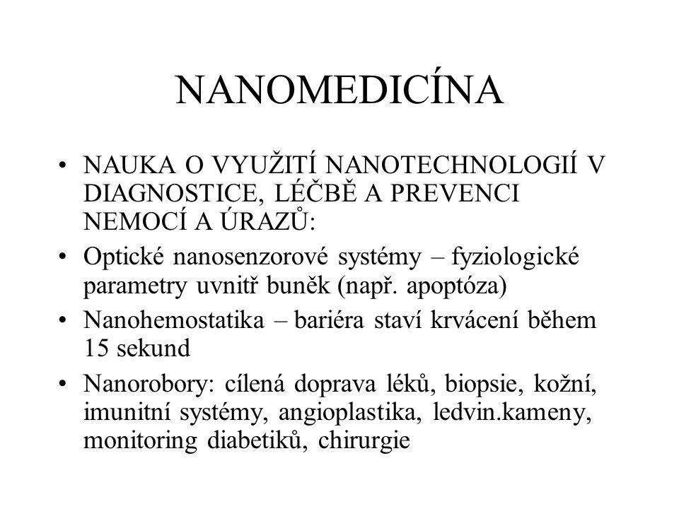 NANOMEDICÍNA NAUKA O VYUŽITÍ NANOTECHNOLOGIÍ V DIAGNOSTICE, LÉČBĚ A PREVENCI NEMOCÍ A ÚRAZŮ: Optické nanosenzorové systémy – fyziologické parametry uvnitř buněk (např.