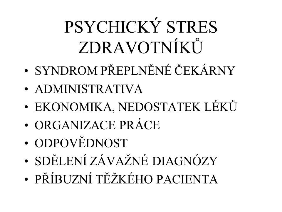 PSYCHICKÝ STRES ZDRAVOTNÍKŮ SYNDROM PŘEPLNĚNÉ ČEKÁRNY ADMINISTRATIVA EKONOMIKA, NEDOSTATEK LÉKŮ ORGANIZACE PRÁCE ODPOVĚDNOST SDĚLENÍ ZÁVAŽNÉ DIAGNÓZY PŘÍBUZNÍ TĚŽKÉHO PACIENTA