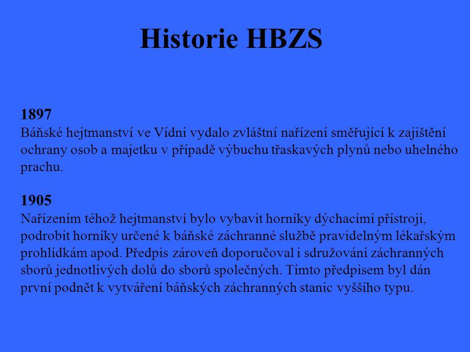 Historie HBZS 1897 Báňské hejtmanství ve Vídni vydalo zvláštní nařízení směřující k zajištění ochrany osob a majetku v případě výbuchu třaskavých plyn