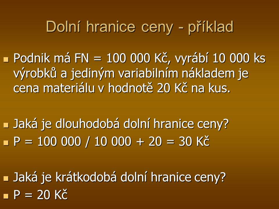 Dolní hranice ceny - příklad Podnik má FN = 100 000 Kč, vyrábí 10 000 ks výrobků a jediným variabilním nákladem je cena materiálu v hodnotě 20 Kč na k