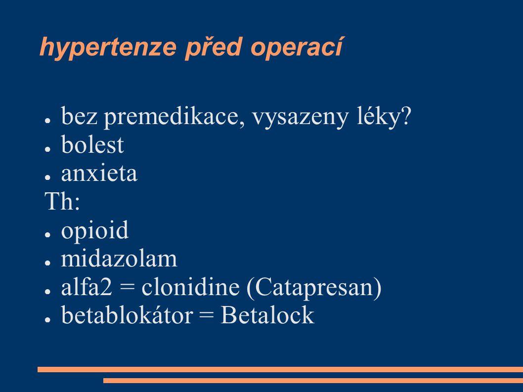 hypertenze před operací ● bez premedikace, vysazeny léky.