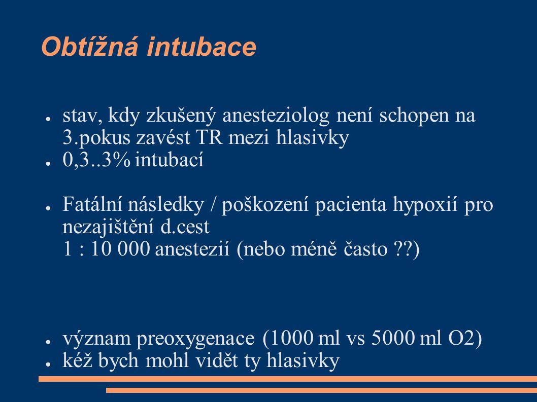 Obtížná intubace ● stav, kdy zkušený anesteziolog není schopen na 3.pokus zavést TR mezi hlasivky ● 0,3..3% intubací ● Fatální následky / poškození pacienta hypoxií pro nezajištění d.cest 1 : 10 000 anestezií (nebo méně často ) ● význam preoxygenace (1000 ml vs 5000 ml O2) ● kéž bych mohl vidět ty hlasivky