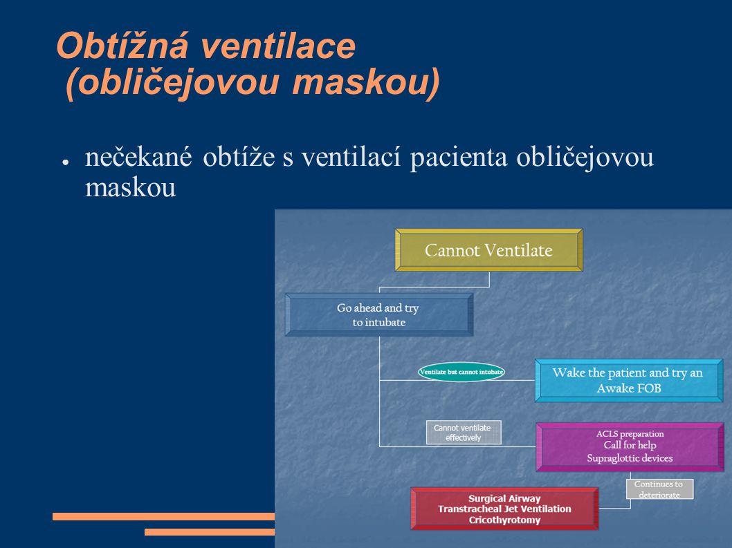 Obtížná ventilace (obličejovou maskou) ● nečekané obtíže s ventilací pacienta obličejovou maskou