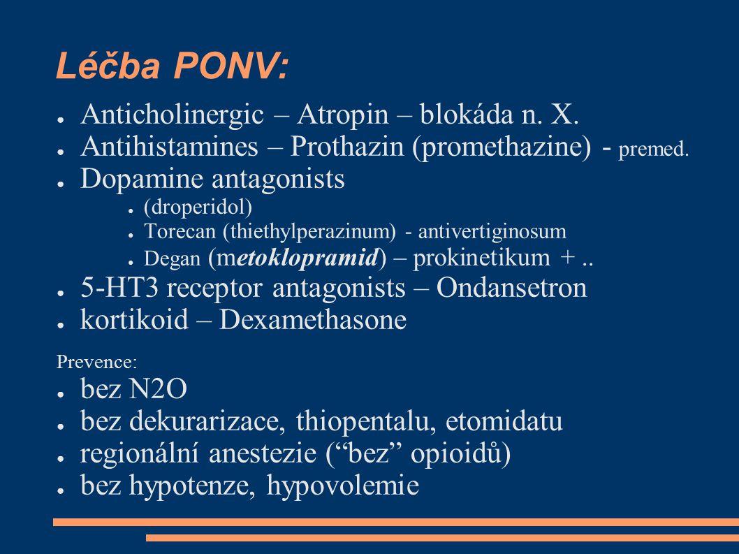 Léčba PONV: ● Anticholinergic – Atropin – blokáda n.