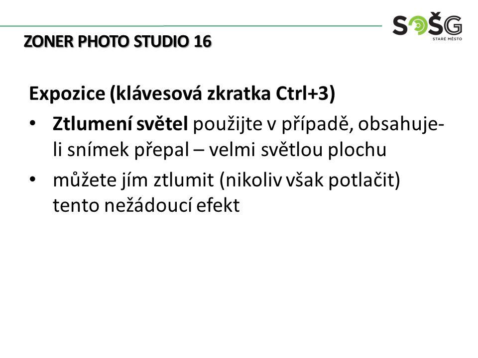 ZONER PHOTO STUDIO 16 Expozice (klávesová zkratka Ctrl+3) Ztlumení světel použijte v případě, obsahuje- li snímek přepal – velmi světlou plochu můžete jím ztlumit (nikoliv však potlačit) tento nežádoucí efekt