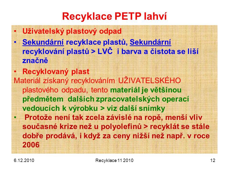 Recyklace PETP lahví Uživatelský plastový odpad Sekundární recyklace plastů, Sekundární recyklování plastů > LVČ i barva a čistota se liší značně Recy