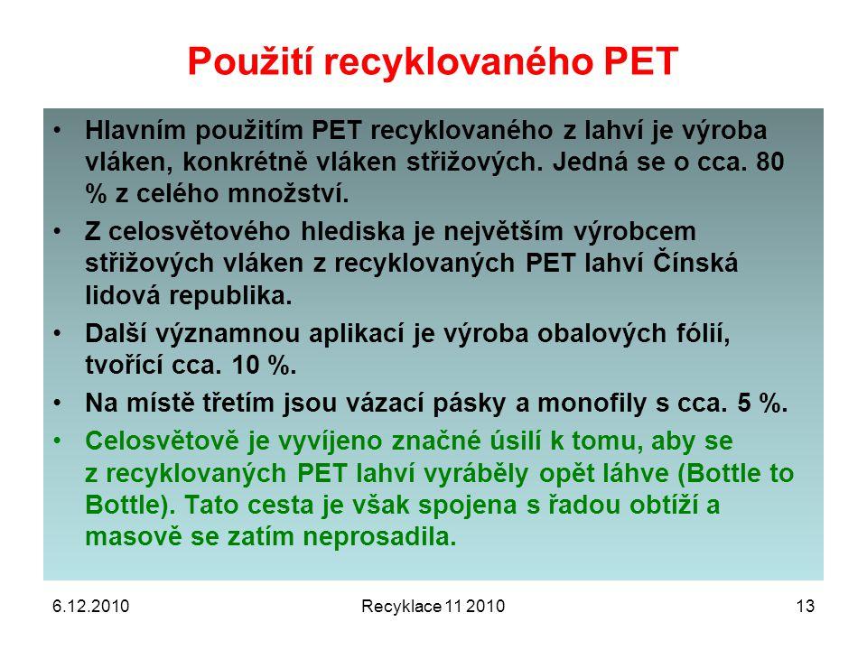Použití recyklovaného PET 6.12.2010Recyklace 11 201013 Hlavním použitím PET recyklovaného z lahví je výroba vláken, konkrétně vláken střižových. Jedná