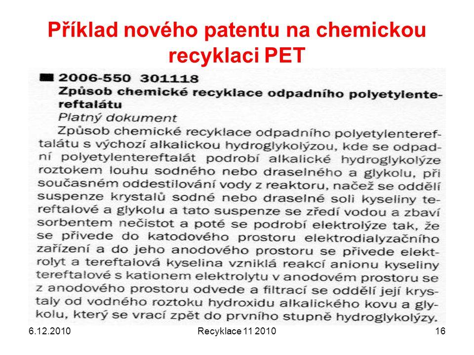 Příklad nového patentu na chemickou recyklaci PET 6.12.2010Recyklace 11 201016