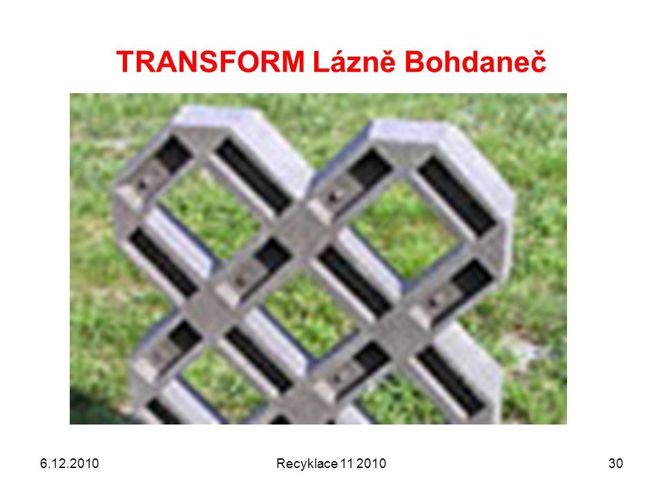 TRANSFORM Lázně Bohdaneč 6.12.2010Recyklace 11 201030