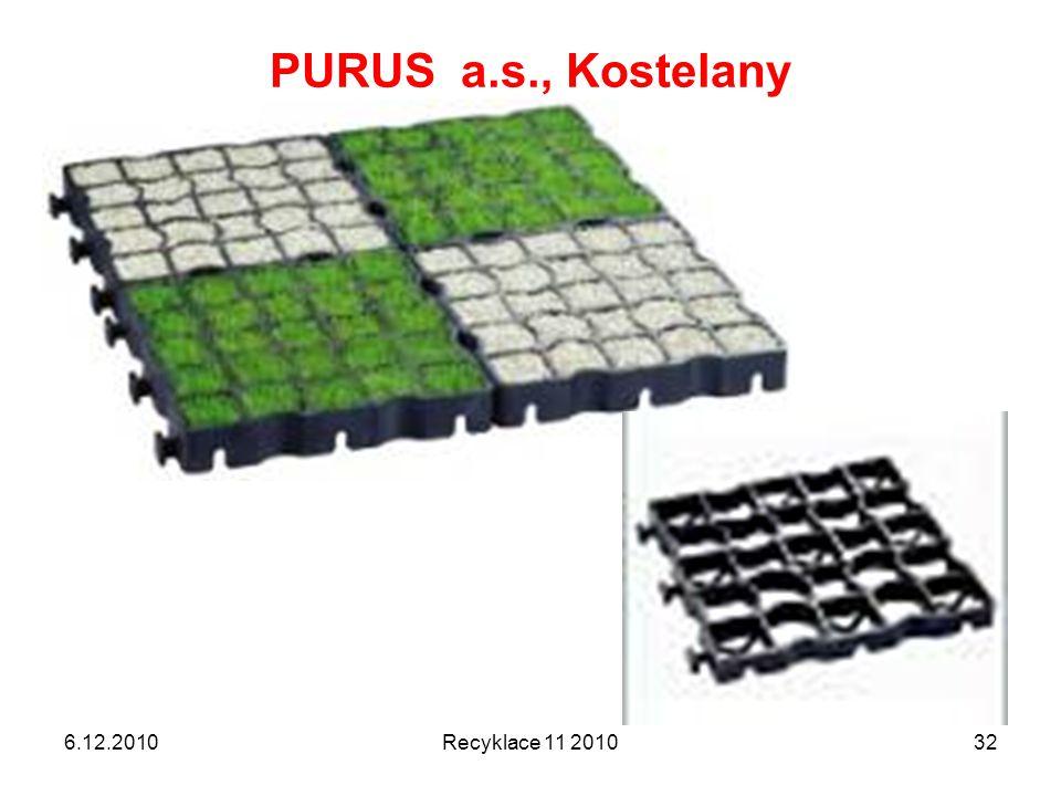 PURUS a.s., Kostelany 6.12.2010Recyklace 11 201032