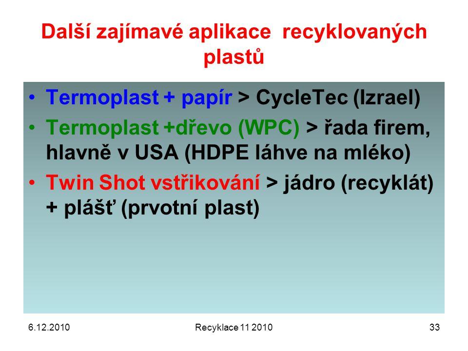 6.12.2010Recyklace 11 201033 Další zajímavé aplikace recyklovaných plastů Termoplast + papír > CycleTec (Izrael) Termoplast +dřevo (WPC) > řada firem,