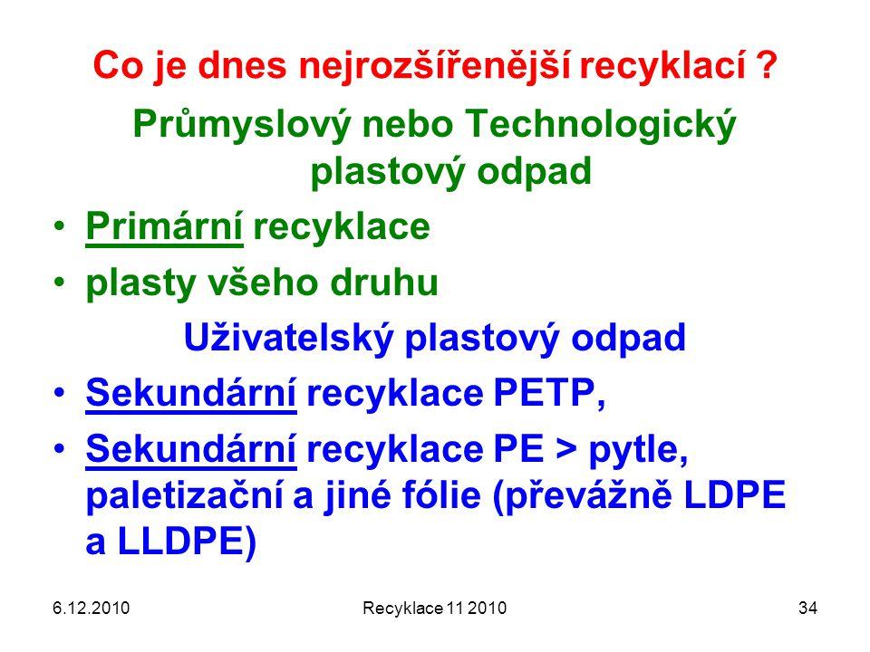 Co je dnes nejrozšířenější recyklací ? 6.12.2010Recyklace 11 201034 Průmyslový nebo Technologický plastový odpad Primární recyklace plasty všeho druhu