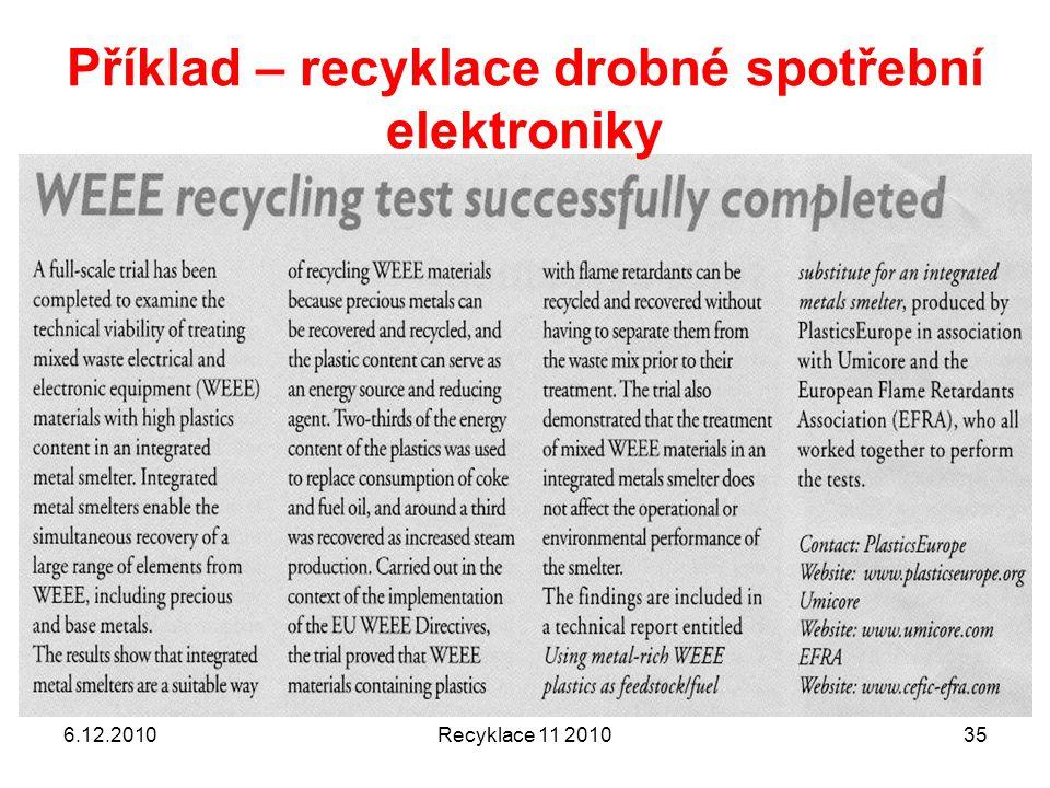 6.12.2010Recyklace 11 201035 Příklad – recyklace drobné spotřební elektroniky
