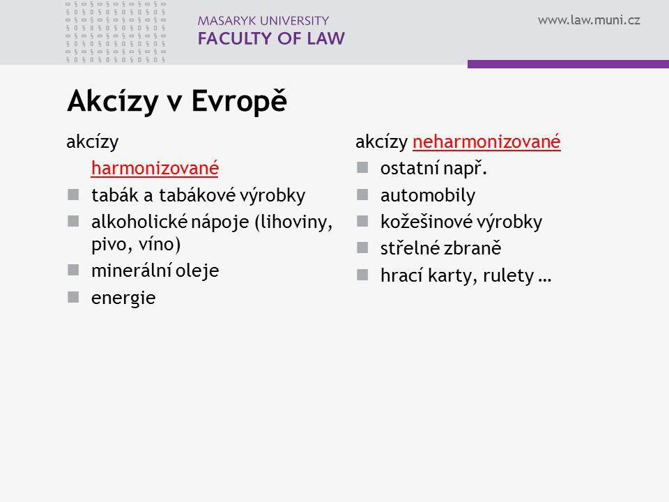 www.law.muni.cz Akcízy v Evropě akcízy harmonizované tabák a tabákové výrobky alkoholické nápoje (lihoviny, pivo, víno) minerální oleje energie akcízy