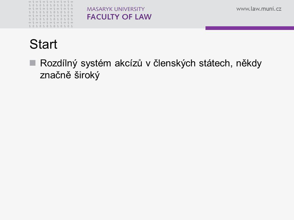 www.law.muni.cz Start Rozdílný systém akcízů v členských státech, někdy značně široký