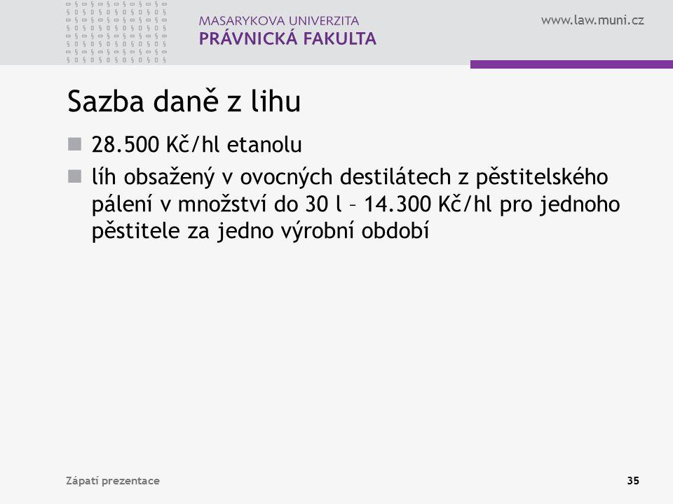 www.law.muni.cz Sazba daně z lihu 28.500 Kč/hl etanolu líh obsažený v ovocných destilátech z pěstitelského pálení v množství do 30 l – 14.300 Kč/hl pr