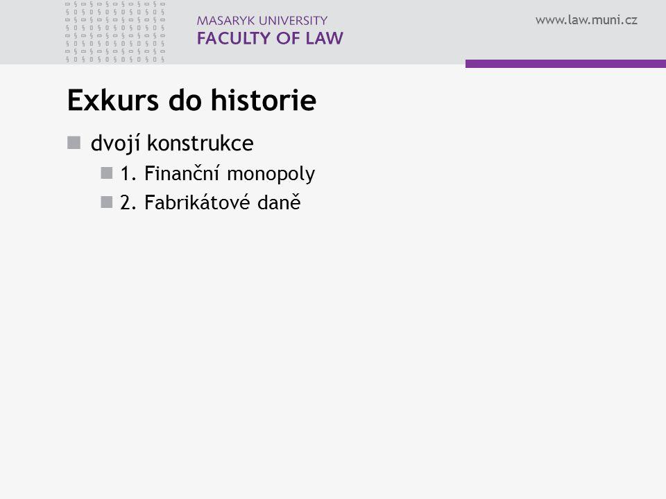www.law.muni.cz Exkurs do historie dvojí konstrukce 1. Finanční monopoly 2. Fabrikátové daně