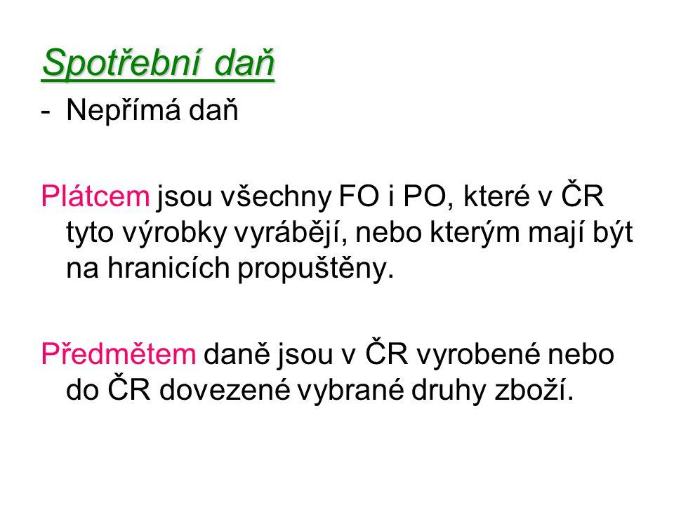 -Nepřímá daň Plátcem jsou všechny FO i PO, které v ČR tyto výrobky vyrábějí, nebo kterým mají být na hranicích propuštěny.