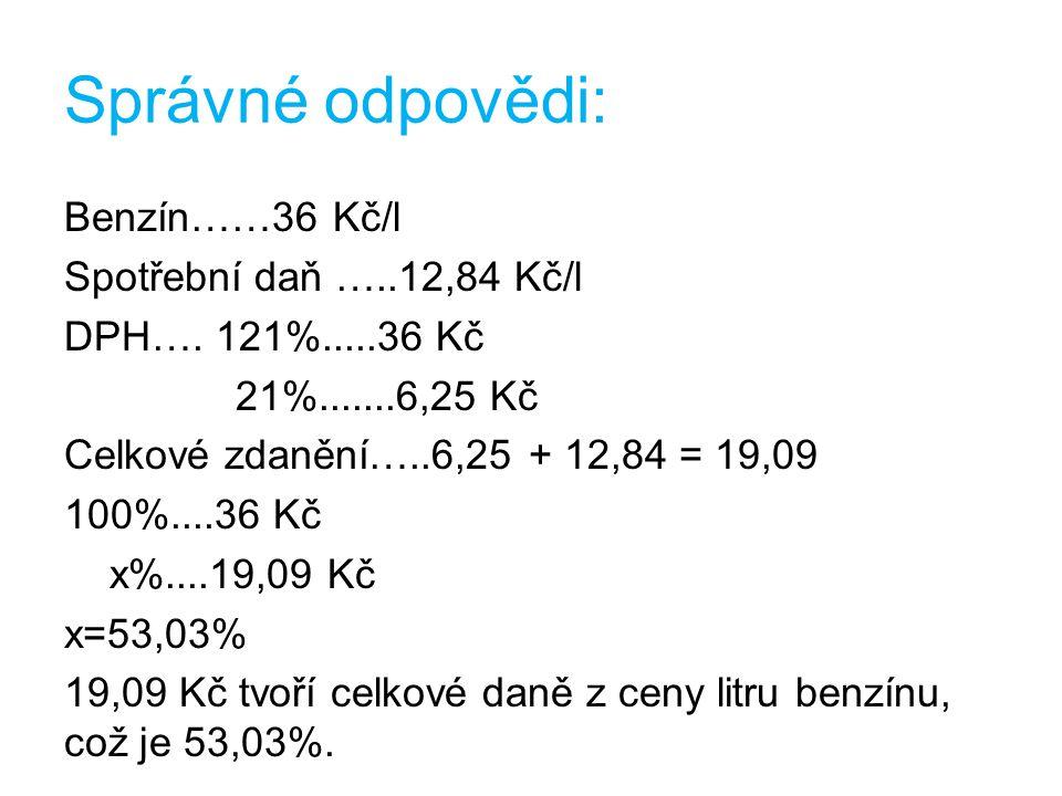 Správné odpovědi: Benzín……36 Kč/l Spotřební daň …..12,84 Kč/l DPH….