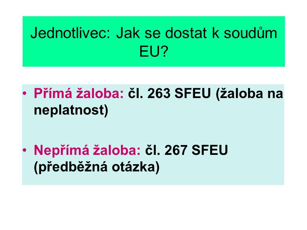 Jednotlivec: Jak se dostat k soudům EU. Přímá žaloba: čl.