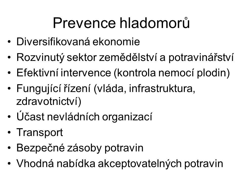 Prevence hladomorů Diversifikovaná ekonomie Rozvinutý sektor zemědělství a potravinářství Efektivní intervence (kontrola nemocí plodin) Fungující říze