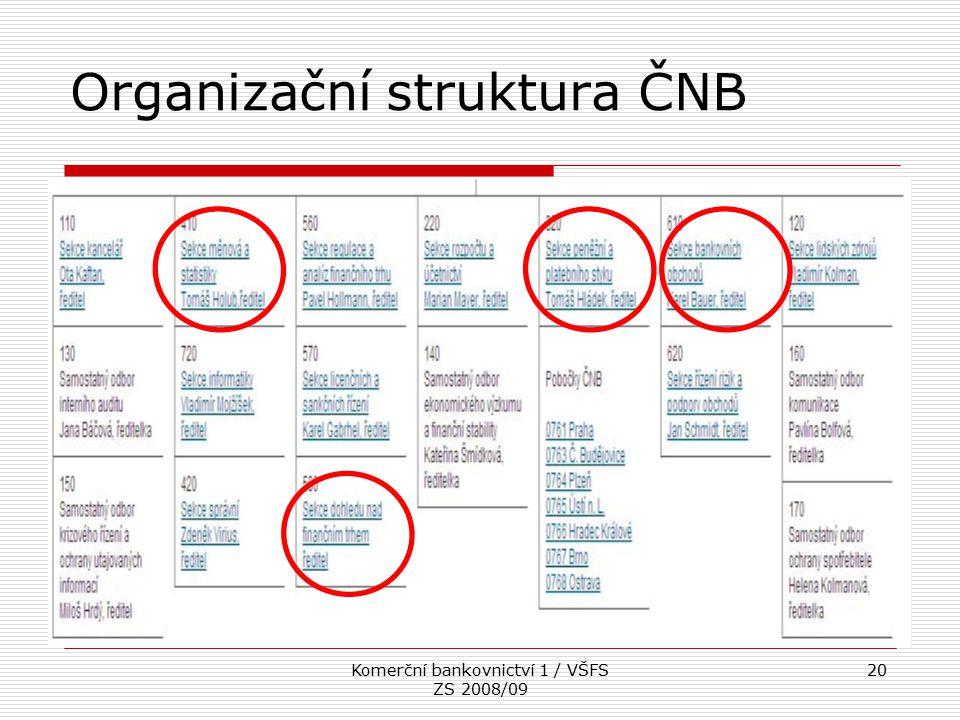 Komerční bankovnictví 1 / VŠFS ZS 2008/09 20 Organizační struktura ČNB