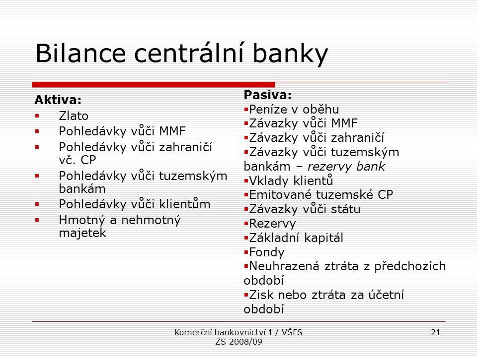 Komerční bankovnictví 1 / VŠFS ZS 2008/09 21 Bilance centrální banky Aktiva:  Zlato  Pohledávky vůči MMF  Pohledávky vůči zahraničí vč. CP  Pohled