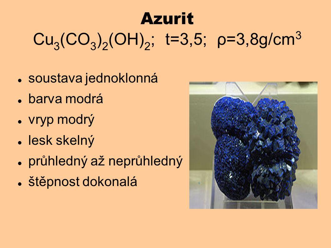 Azurit Cu 3 (CO 3 ) 2 (OH) 2 ; t=3,5; ρ=3,8g/cm 3 soustava jednoklonná barva modrá vryp modrý lesk skelný průhledný až neprůhledný štěpnost dokonalá