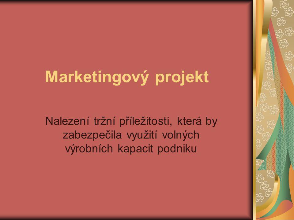 Marketingový projekt Nalezení tržní příležitosti, která by zabezpečila využití volných výrobních kapacit podniku