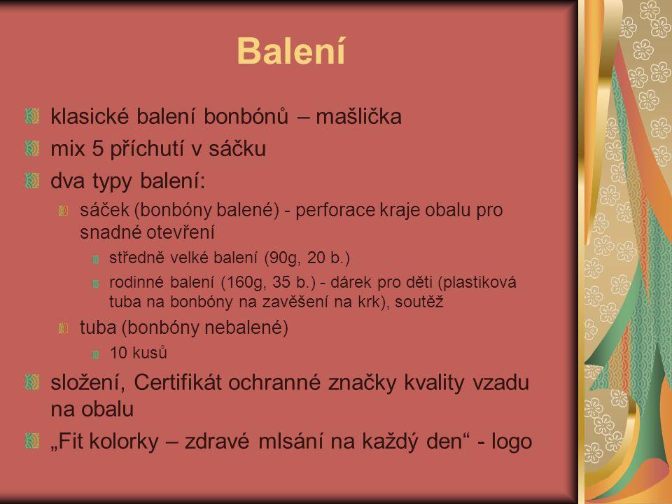 Balení klasické balení bonbónů – mašlička mix 5 příchutí v sáčku dva typy balení: sáček (bonbóny balené) - perforace kraje obalu pro snadné otevření s