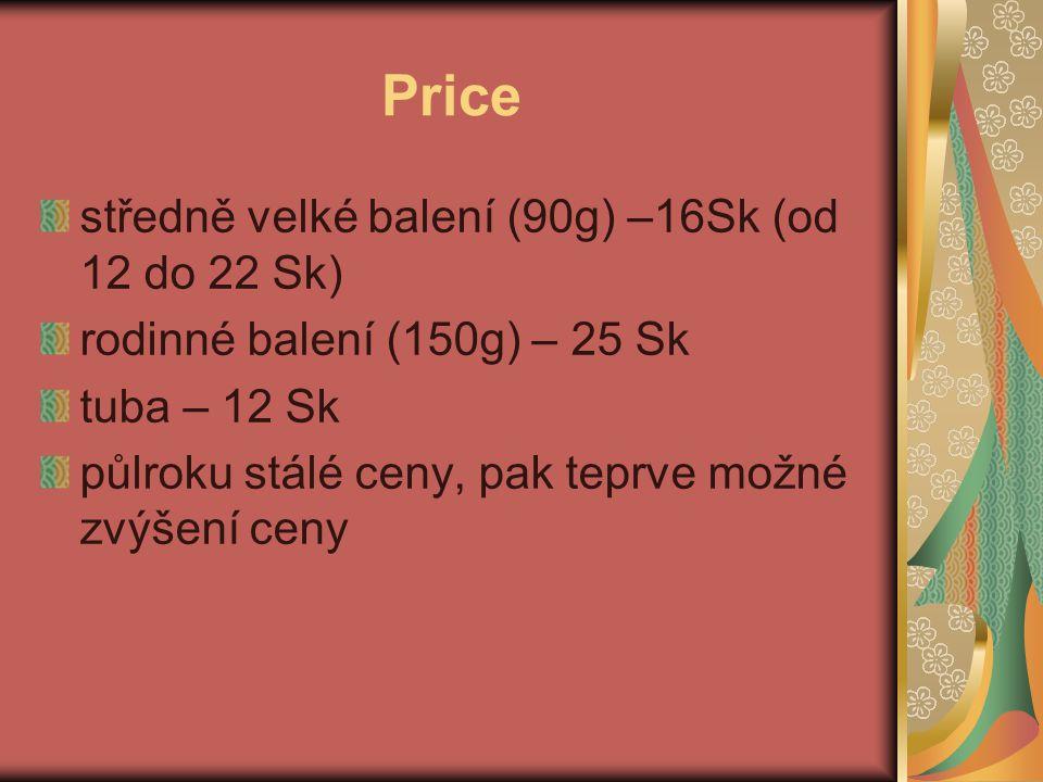 Price středně velké balení (90g) –16Sk (od 12 do 22 Sk) rodinné balení (150g) – 25 Sk tuba – 12 Sk půlroku stálé ceny, pak teprve možné zvýšení ceny