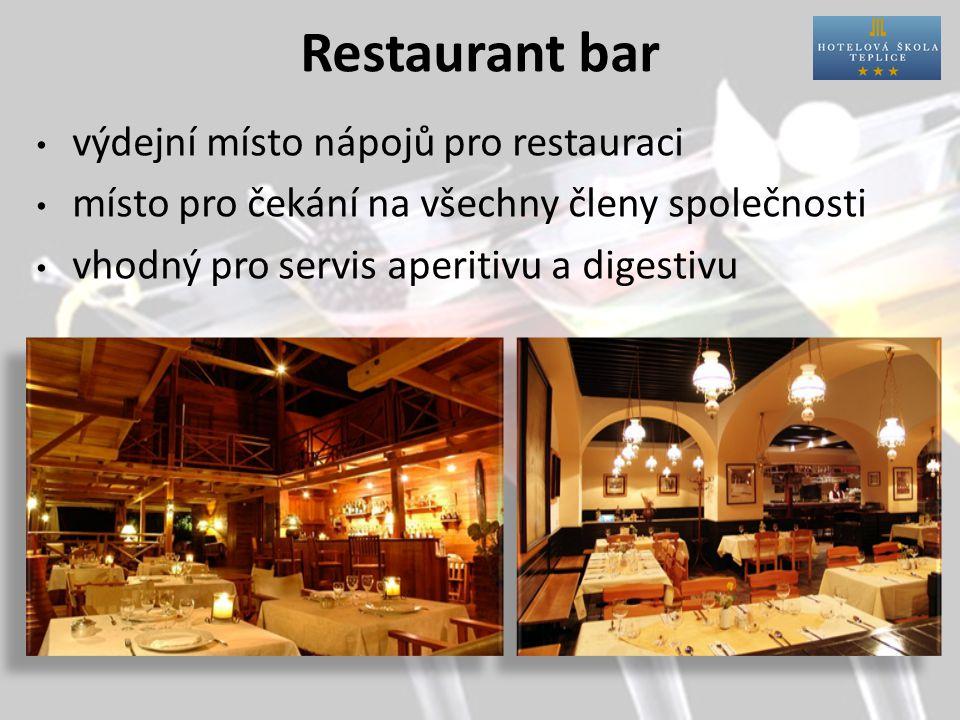 Restaurant bar výdejní místo nápojů pro restauraci místo pro čekání na všechny členy společnosti vhodný pro servis aperitivu a digestivu