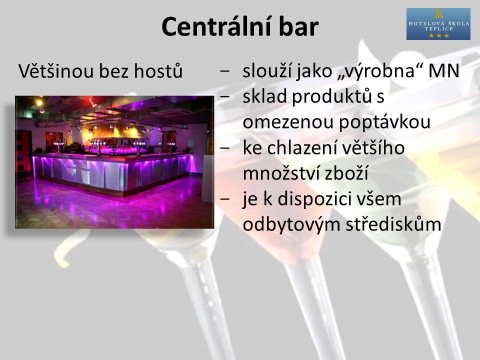 """Centrální bar Většinou bez hostů  slouží jako """"výrobna MN  sklad produktů s omezenou poptávkou  ke chlazení většího množství zboží  je k dispozici všem odbytovým střediskům"""