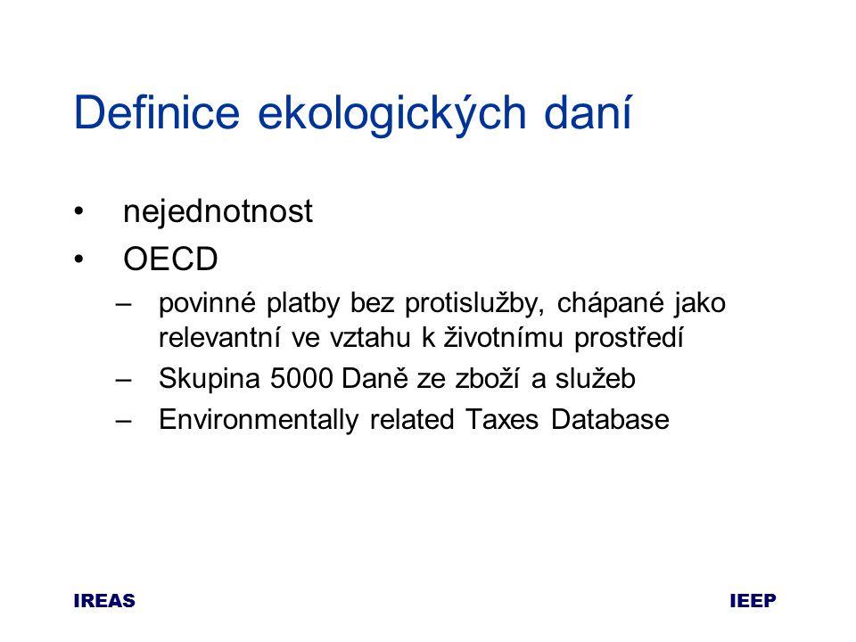 IEEP IREAS Definice ekologických daní nejednotnost OECD –povinné platby bez protislužby, chápané jako relevantní ve vztahu k životnímu prostředí –Skupina 5000 Daně ze zboží a služeb –Environmentally related Taxes Database