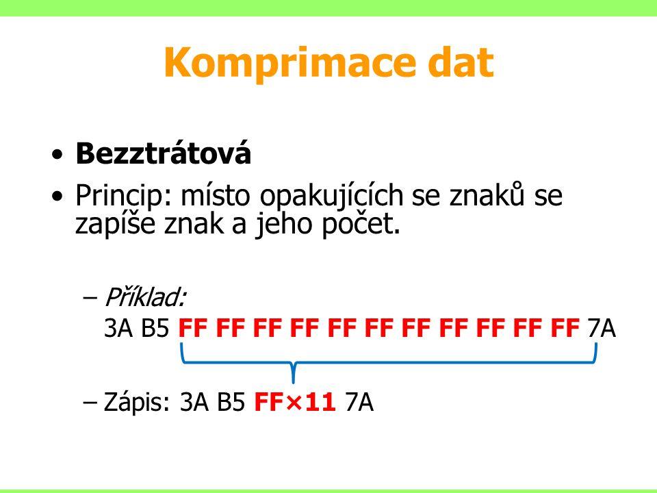 Komprimace dat Bezztrátová Princip: místo opakujících se znaků se zapíše znak a jeho počet.