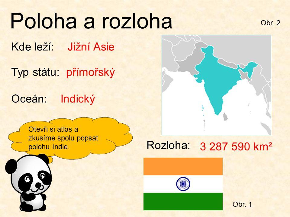 Otevři si atlas a zkusíme spolu popsat polohu Indie. Obr. 2 Poloha a rozloha Kde leží:Jižní Asie Typ státu:přímořský Oceán:Indický Rozloha: 3 287 590