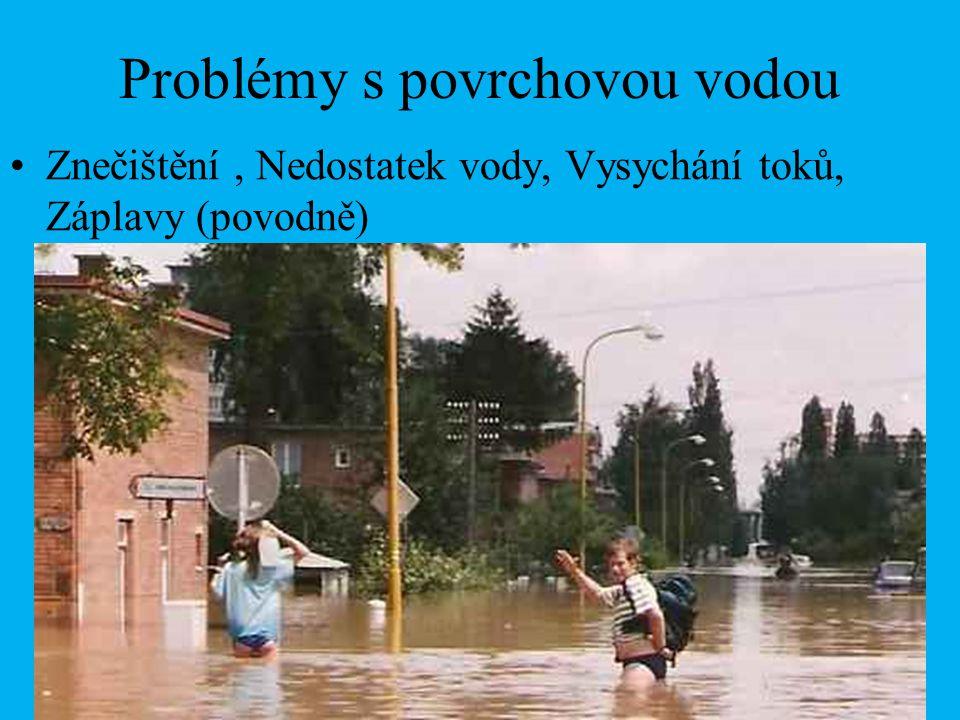 Problémy s povrchovou vodou Znečištění, Nedostatek vody, Vysychání toků, Záplavy (povodně)